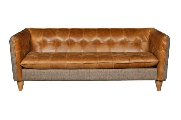 Brunswick Sofa - 2 Seater in Harris Tweed and Leather  Fast Track
