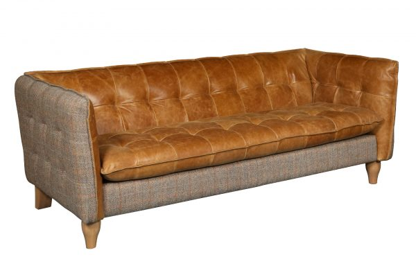 Brunswick Sofa - 3 Seater in Harris Tweed and Leather  Fast Track