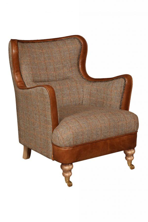 Ellis Snug Chair in Harris Tweed and Leather  Fast Track