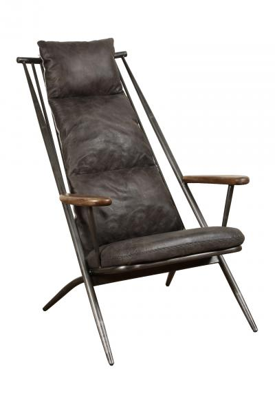 Ely Industrial Metal and Grey Leather Arm Chair