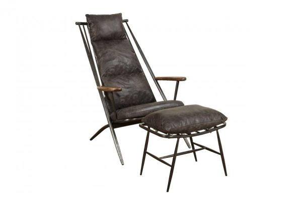 Ely Industrial Metal and Grey Leather Arm Chair With Footstool