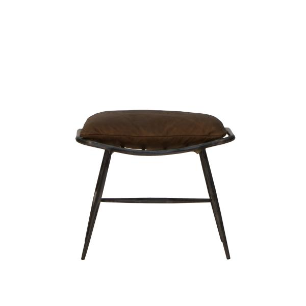 Ely Industrial Metal and Brown Leather Footstool