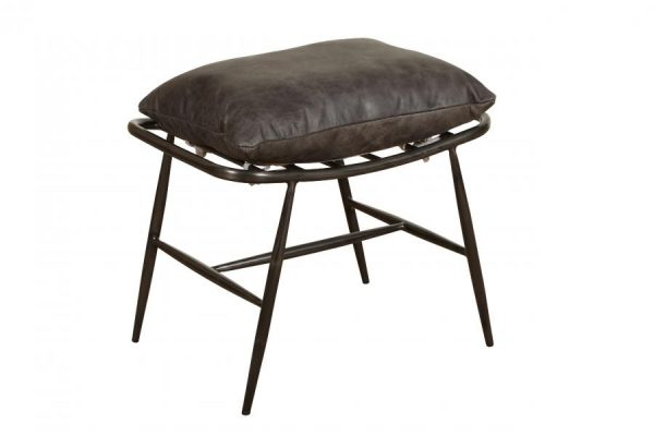 Ely Industrial Metal and Grey Leather Footstool
