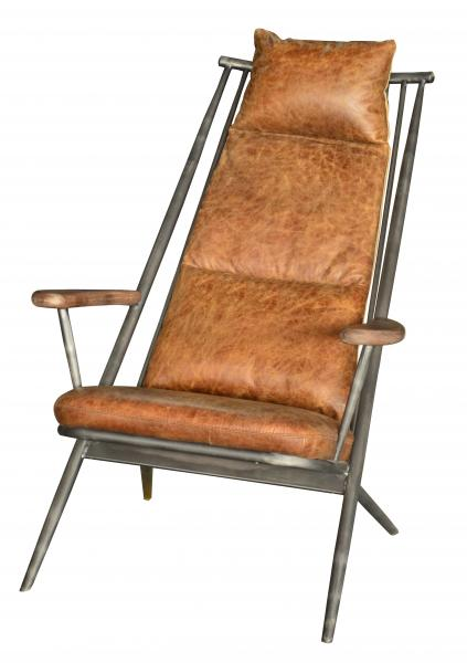 Ely Industrial Metal and Brown Leather Arm Chair With Footstool