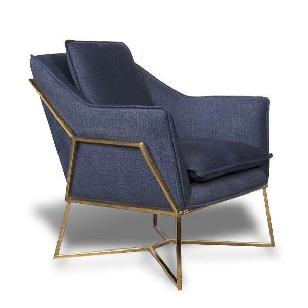 Toucan Geo Armchair with Gold Metal Frame - Midnight Blue