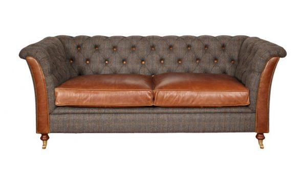 Kingsman Chesterfield Harris Tweed and Leather Sofa  2 Seater