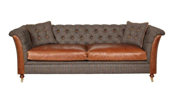 Kingsman Chesterfield Harris Tweed and Leather Sofa  3 Seater