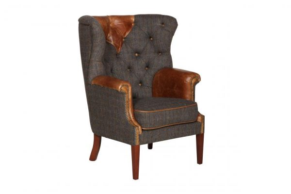 Kingsman High Wing Back Harris Tweed and Leather Arm Chair