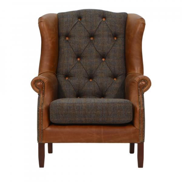 Kingsman Medium Back Harris Tweed and Leather Arm Chair