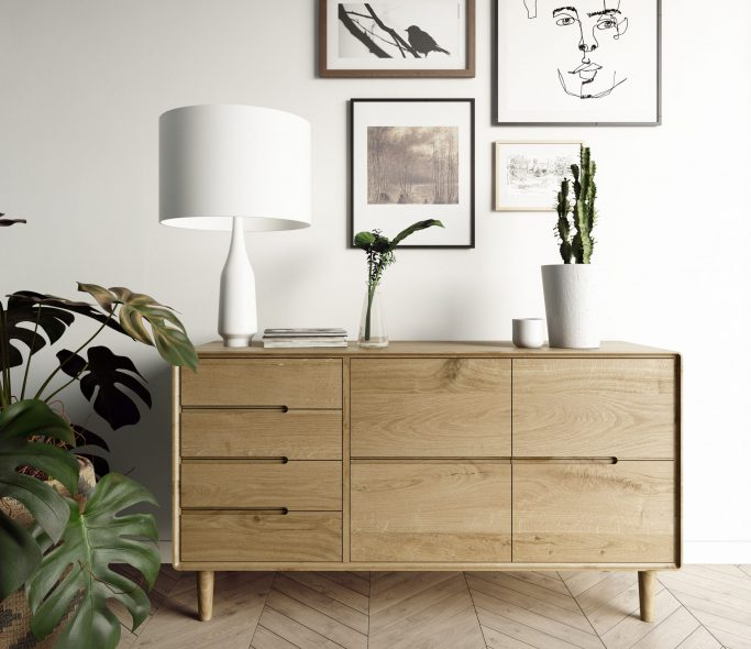 Oslo Oak Large 7 Drawer Sideboard