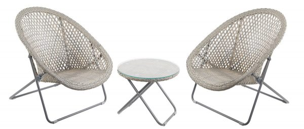 Faux Rattan set of 2 Folding Chairs with Side Table - Stone Grey