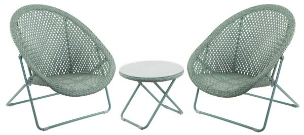 Faux Rattan Folding Chair set of 2 with Side Table - Sage Green