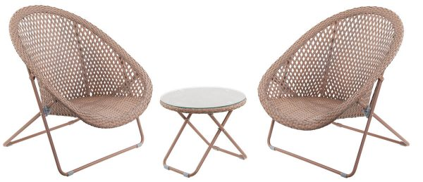 Faux Rattan Folding Chair set of 2 with Side Table - Copper