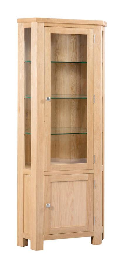 Abbey Oak Corner Display Cabinet