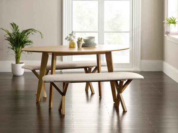 Abbey Oak Curved Dining Table with 2 Curved Benches