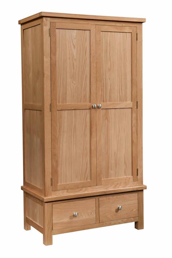 Abbey Oak Double Wardrobe with 2 Drawers