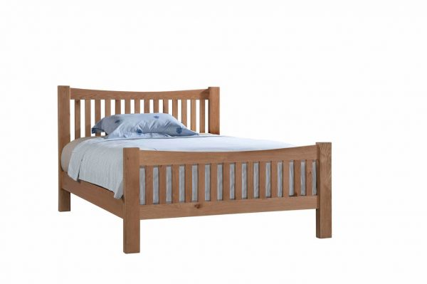 "Abbey Oak 4'6"" Double High Foot End Bed"