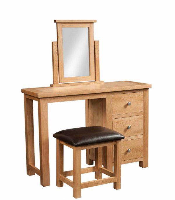 Abbey Oak single pedestal dressing table + stool