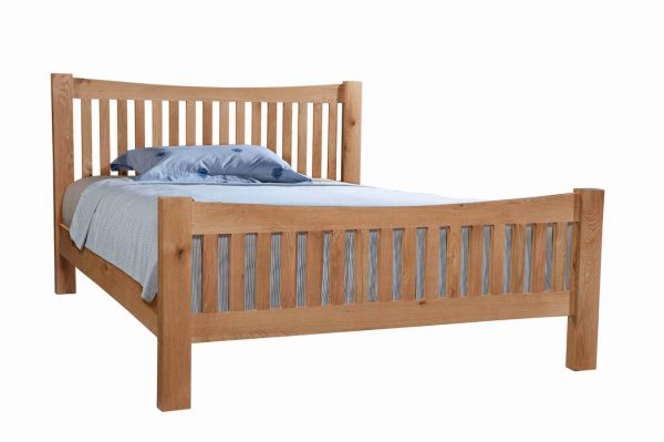 Abbey Oak 5' King Size High Foot End Bed