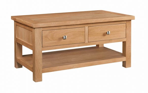 Abbey Oak Coffee Table with 2 Drawers