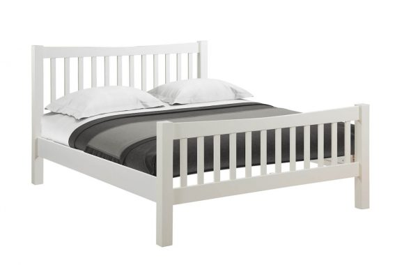"Abbey Painted Ivory 4'6"" Double High Foot End Bed"