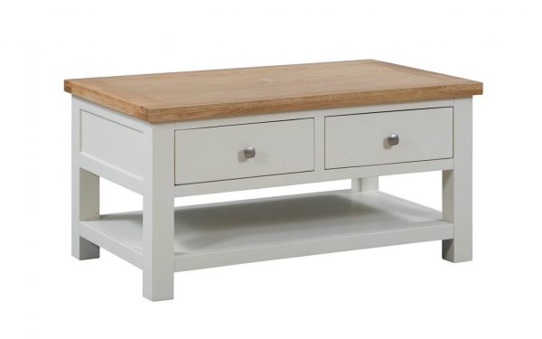 Abbey Painted Ivory Coffee Table with 2 Drawers