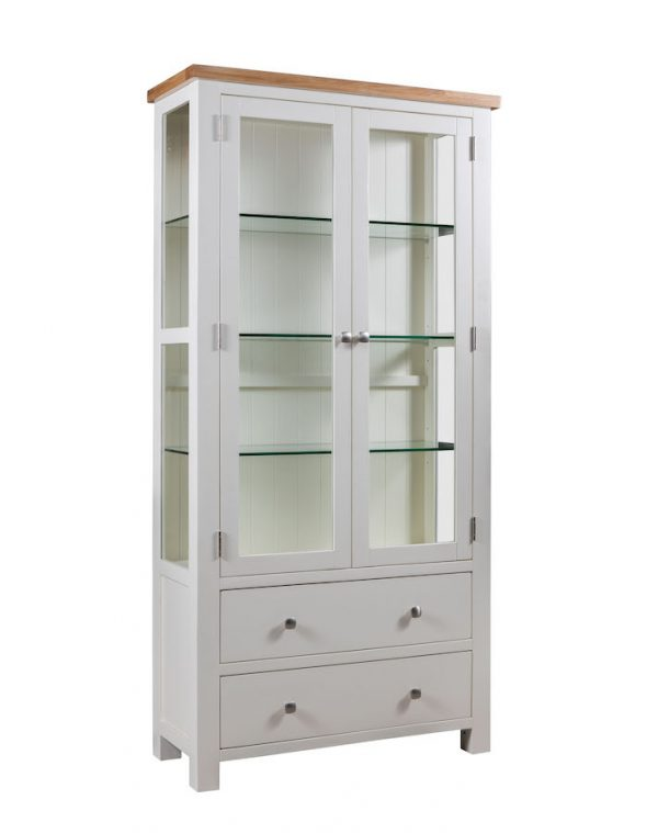 Abbey Painted Ivory Display Cabinet with Glass Doors