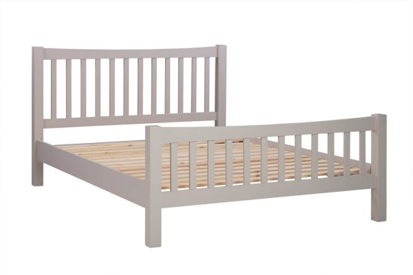 """Abbey Painted Putty 4'6"""" Double High Foot End Bed"""