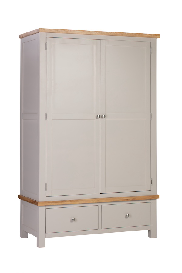 Abbey Painted Putty Double Wardrobe with 2 Drawers