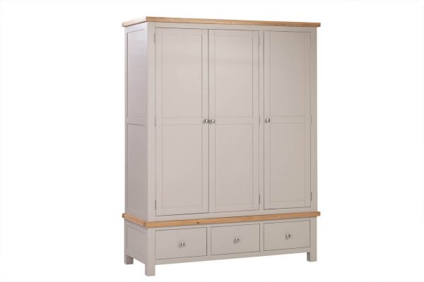 Abbey Painted Putty Triple Wardrobe with 3 Drawers