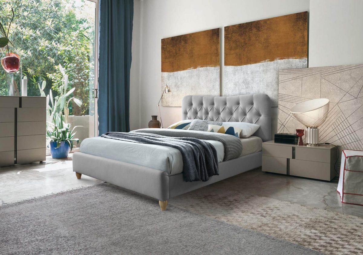 Bella Upholstered Button Back Bed - King (150cm) - Grey