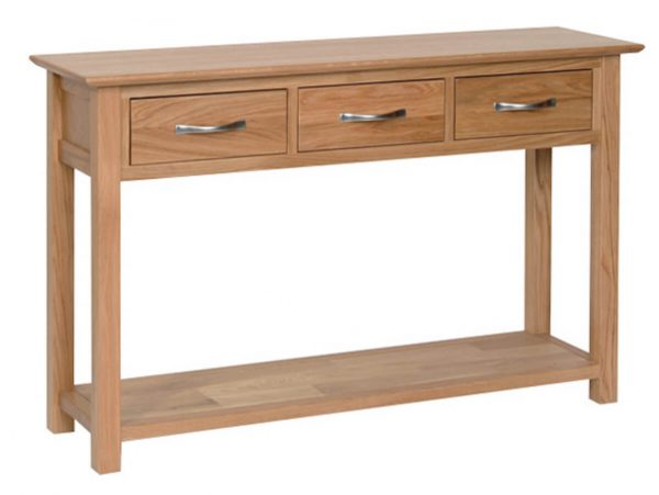 Bryer Oak 3 Drawer Console Table