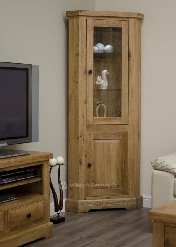 Buffalo Oak Corner Display Cabinet