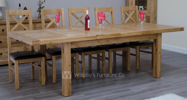 Buffalo Oak X-Large Extending Table 240cm x 110cm + (2 x 50cm)