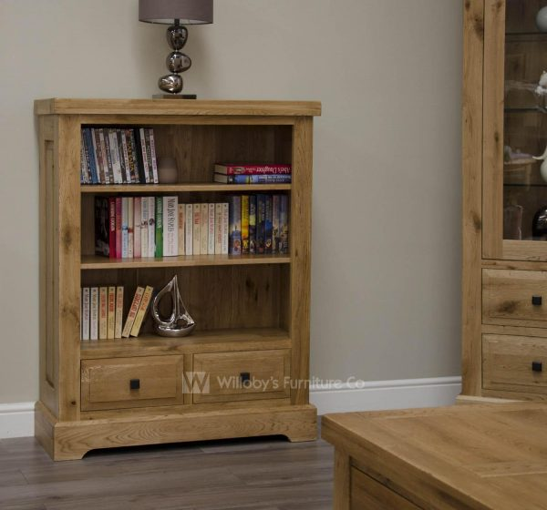Buffalo Oak Low Bookcase with 2 Drawers