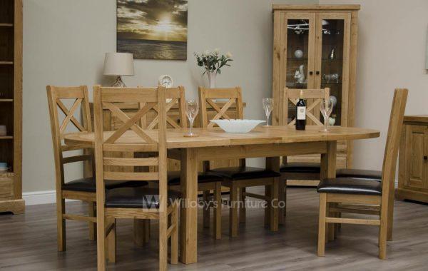 Buffalo Oak Oval Extending Table 167cm x 100cm + (2 x 40cm)