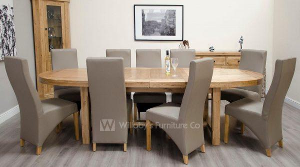 Buffalo Oak Super Oval Extending Table 210cm x 100cm + (2 x 40cm)