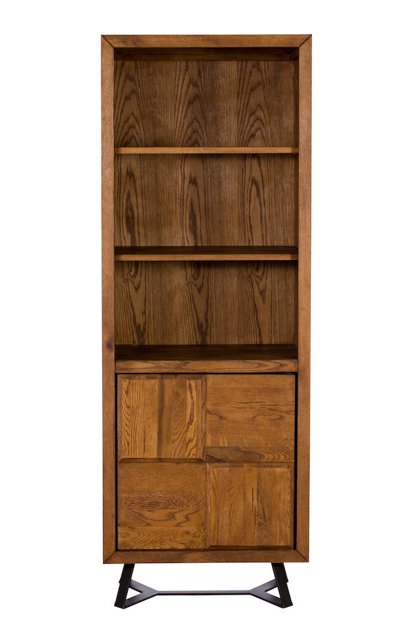 Camden Oak Large Bookcase with Cupboard