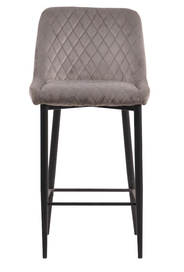 BryerVelvet Diamond Stitched Bar Stool with metal legs - Grey