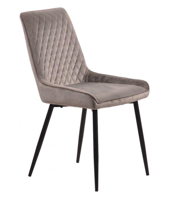 BryerVelvet Diamond Stitched Chair with metal legs - Grey