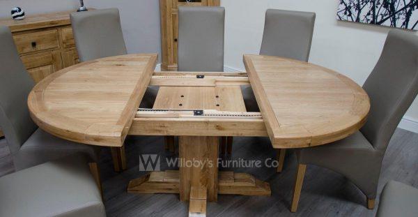Buffalo Oak Round Extending Dining Table 125cm Dia + 55cm