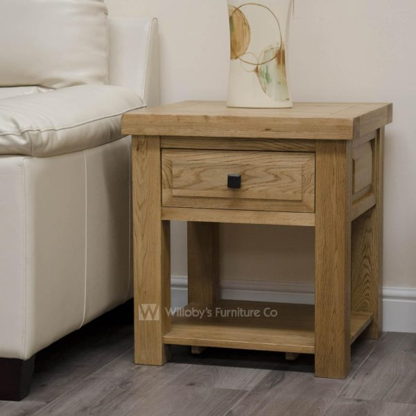 Buffalo Oak Lamp Table with Drawer