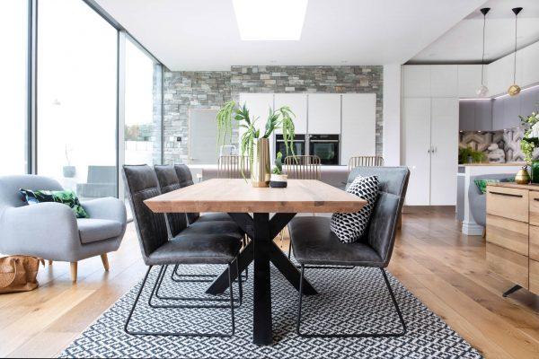 Ealing Light Oak Dining Table with Metal Star Design Legs 240cm