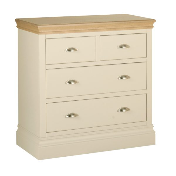 Emily 2 over 2 Chest Painted Ivory with Oak Top