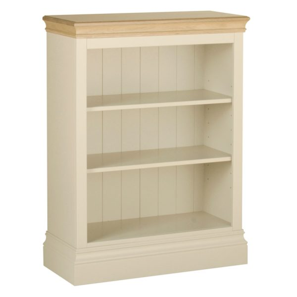 Emily 3` Bookcase Painted Ivory with Oak Top