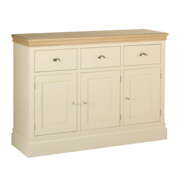 Emily 3 Drawer Sideboard Painted Ivory with Oak Top