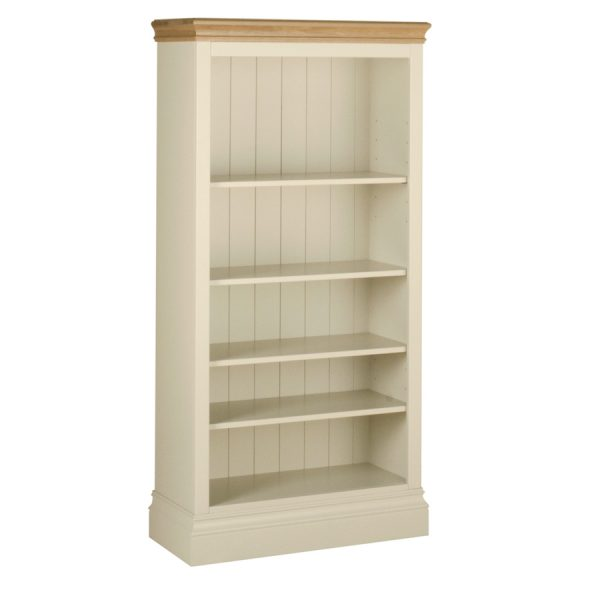Emily 5` Bookcase Painted Ivory with Oak Top