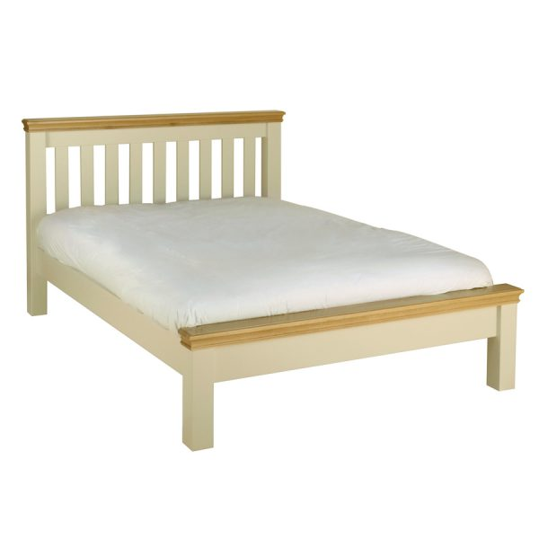Emily King Size (150cm) Bed Painted Ivory with Oak Top