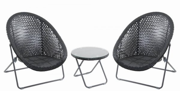 Faux Rattan Folding Chair set of 2 with Side Table - Black