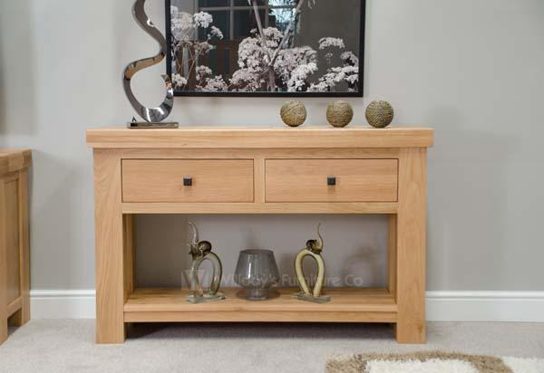Hippo Oak 2 Drawer Console Table